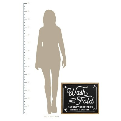 """24"""" x 20"""" Wash and Fold Laundry Sign Wall DecorBlack/White - Stratton Home Décor"""