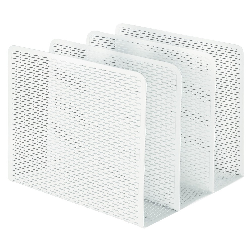 Image of Artistic Urban Collection Punched Metal File Sorter, Three Sections, 8 x 8 x 7 1/4, White