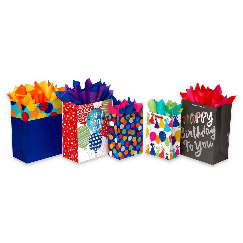 Image of 5ct Birthday Gift Bag and Tissue Paper Bundle