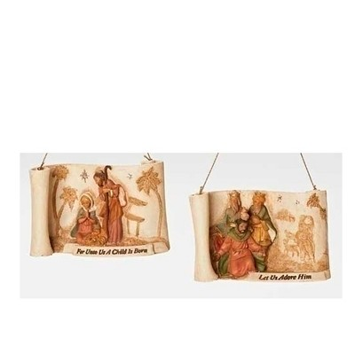"""Roman 4"""" Brown and Red Religious Christmas Nativity Ornament with Verse"""