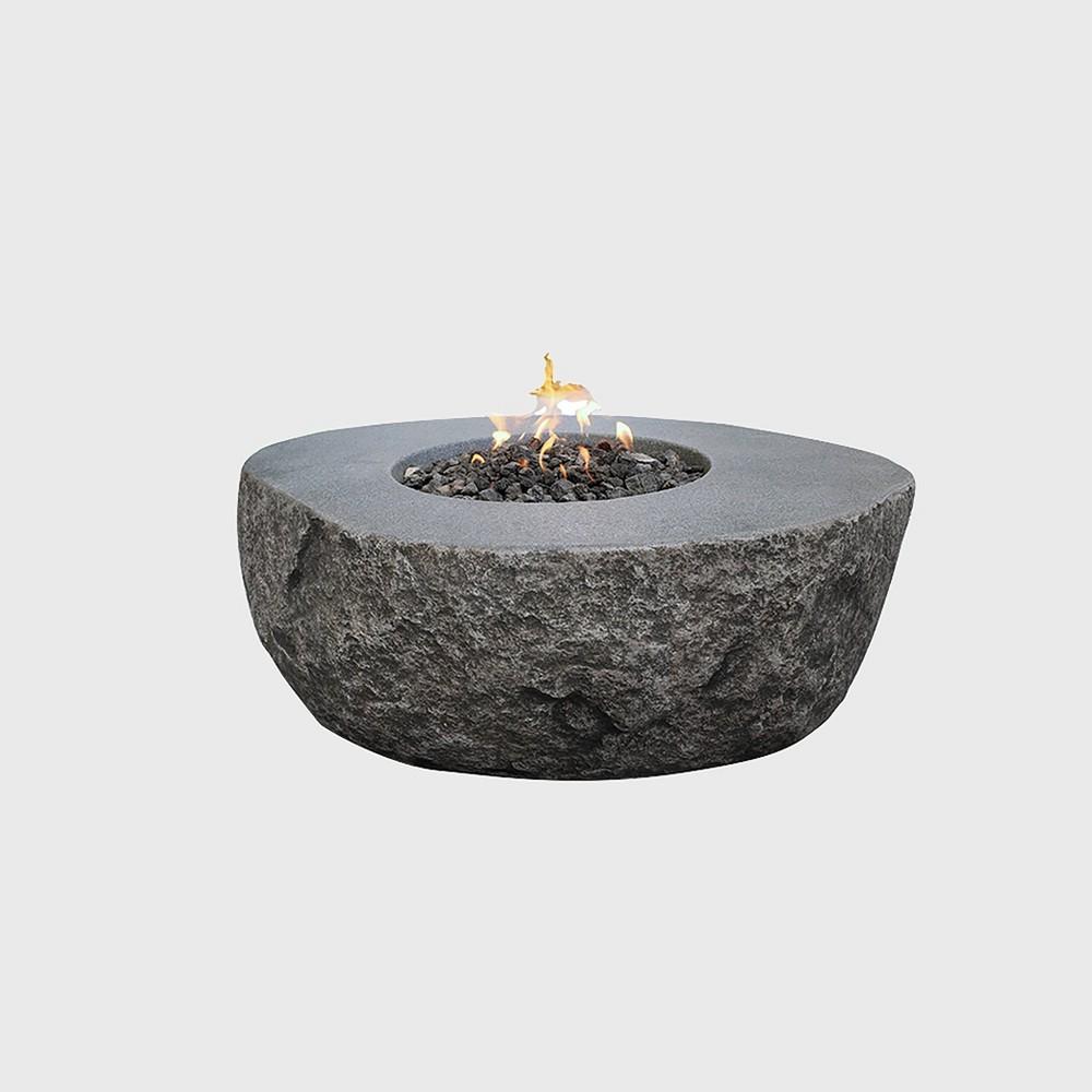 Boulder Glass Concrete Propane Fire Table - Stone - Elementi, Medium Stone
