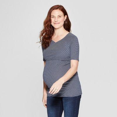 Maternity Short Sleeve Crossover Nursing T-Shirt - Isabel Maternity by Ingrid & Isabel™ Black