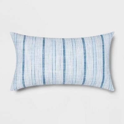 Oversized Lumbar Woven Stripe Pillow Blue/White - Threshold™