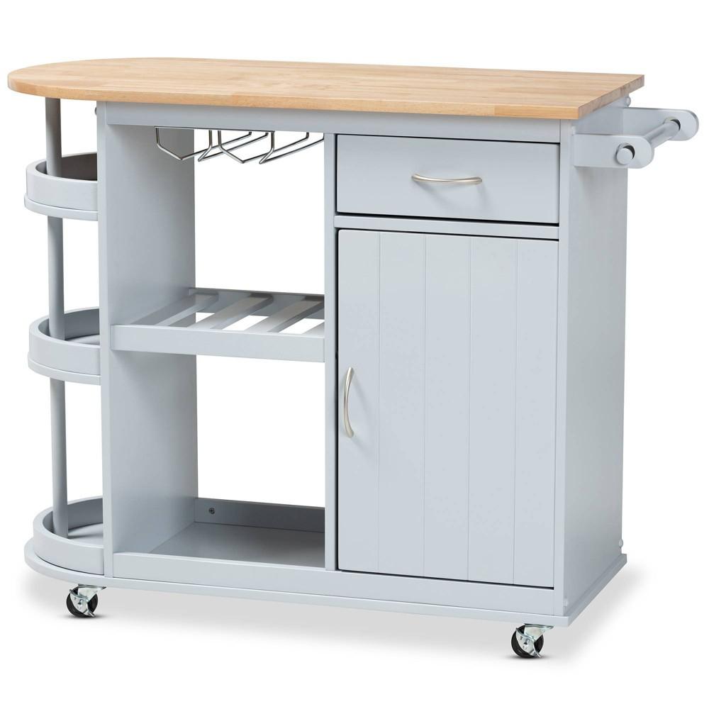 Donnie Wood Kitchen Storage Cart Light Gray Natural Baxton Studio