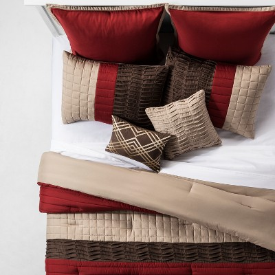 Red & Brown Katheryn Pieced Comforter Set (Queen)8pc