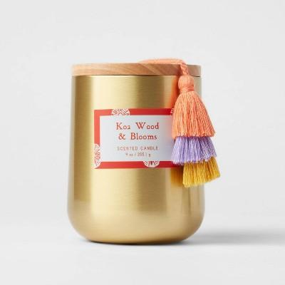 13oz Global Lidded Metal/Wood Tassel Koa Wood and Blooms Candle - Opalhouse™