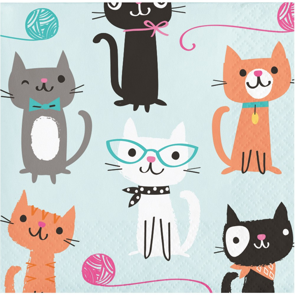 Image of 16ct Creative Converting Cat Party Cocktail Beverage Napkins
