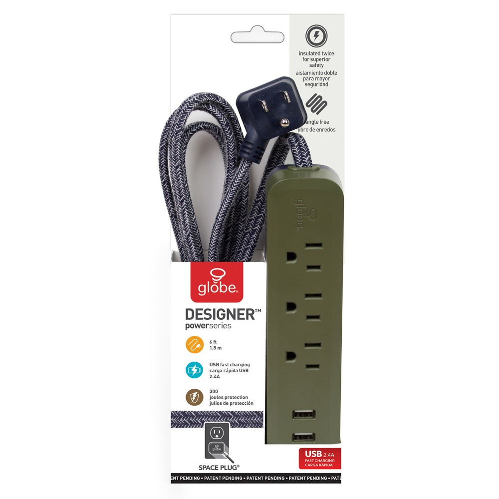 Power Strips Globe Electric Olive Power Strips Globe Electric Olive