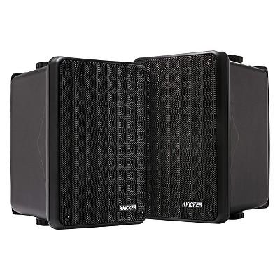 KICKER 46KB6B Portable Weatherproof 6.5 Inch Outdoor/Indoor 2 Way High Efficiency Mount Speaker System with 150 Watt Power and 75 Watts RMS, (2 Pack)