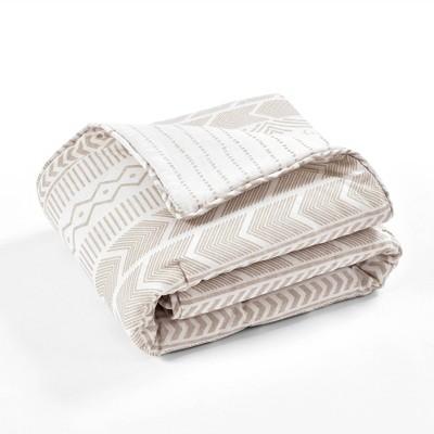 "50""x60"" Hygge Geometric Throw Blanket Taupe/White - Lush Décor"