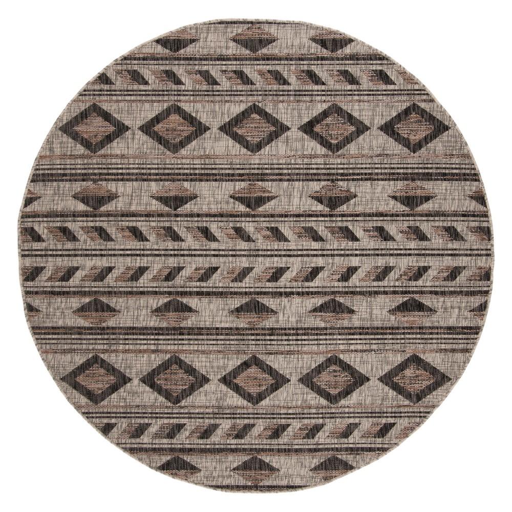 6'7 Round Ackerly Outdoor Rug Gray/Black - Safavieh, Gray Black