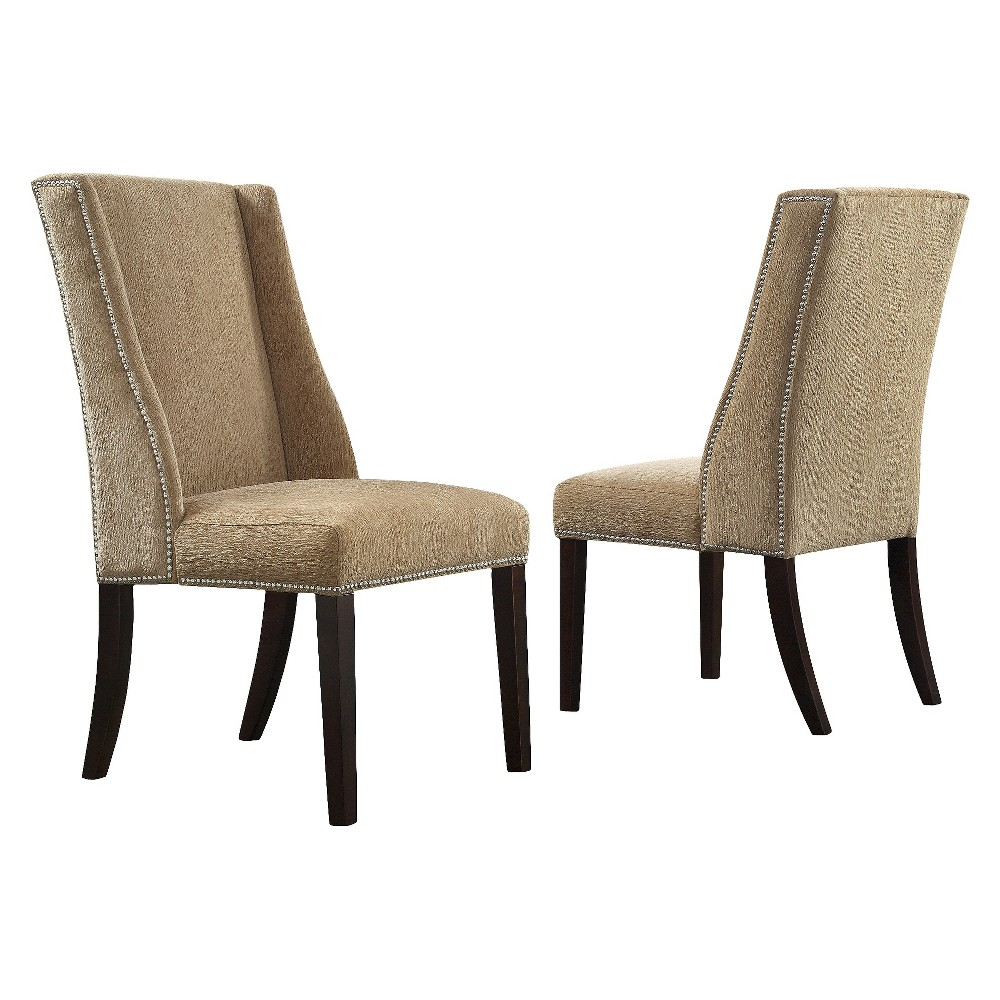 Harlow Wingback Dining Chair with Nailheads Wood/Tan Chenille (Set of 2) - Inspire Q