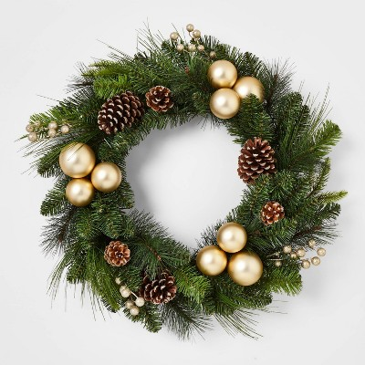 28in Artificial Wreath Champagne Clustered Shatterproof Ornaments with Pinecones and Gold Berries - Wondershop™
