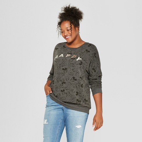Women's Disney Plus Size Mickey Mouse Print Happy Graphic Pullover Sweatshirt (Juniors') Charcoal - image 1 of 2