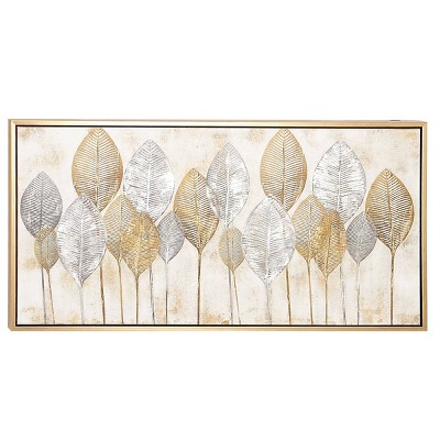 """55"""" x 27"""" Large Rectangular Leaves Acrylic Painting Wall Art Gold/Silver - CosmoLiving by Cosmopolitan"""