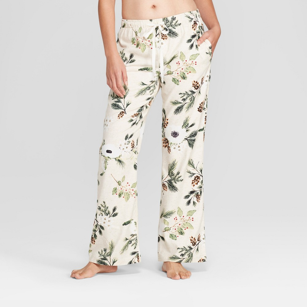 Women's Floral Print Flannel Pajama Pants Cream XS, White