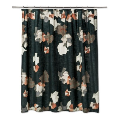 Woven Abstract Floral Print Shower Curtain Green - Project 62™