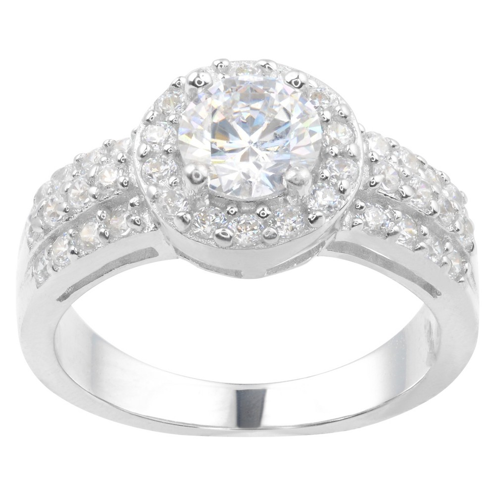 1 1/10 CT. T.W. Round-Cut Cubic Zirconia Basket Set Engagement Ring in Sterling Silver - Silver (7)