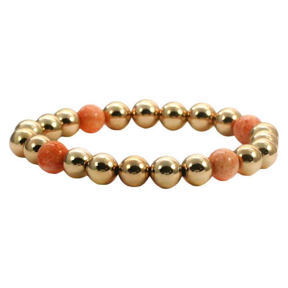 Women's Zirconite 4mm Round Gold Precious Beads Stretch Bracelet-Pink Coral
