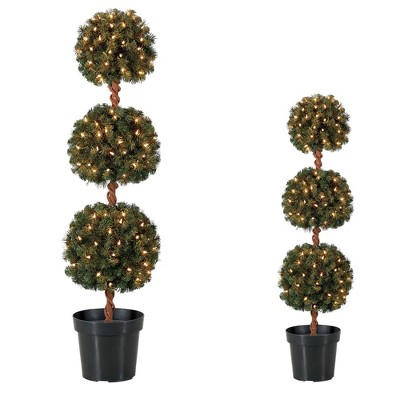 Home Heritage 4 Foot Artificial Tree w/ Lights + 3 Ft Artificial Tree w/ Lights