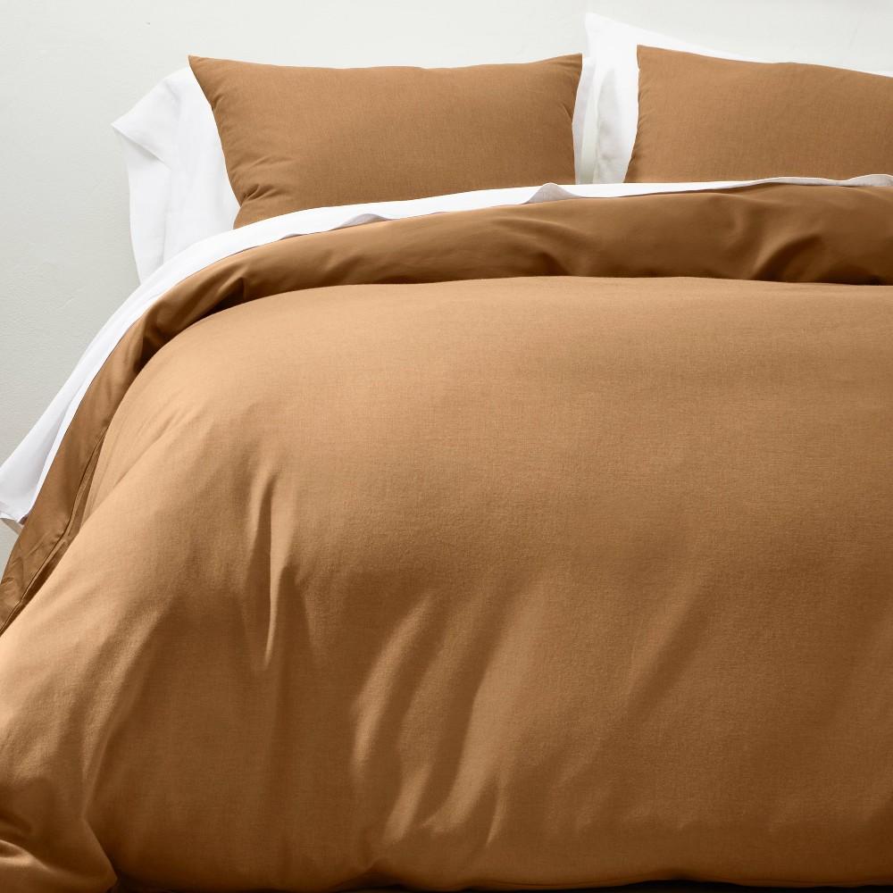 King Cashmere Blend Duvet Cover 38 Sham Set Warm Brown Casaluna 8482