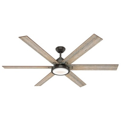 Hunter Fan Company Warrant 70-inch Multiple Speed Ceiling Fan with LED light, Noble Bronze