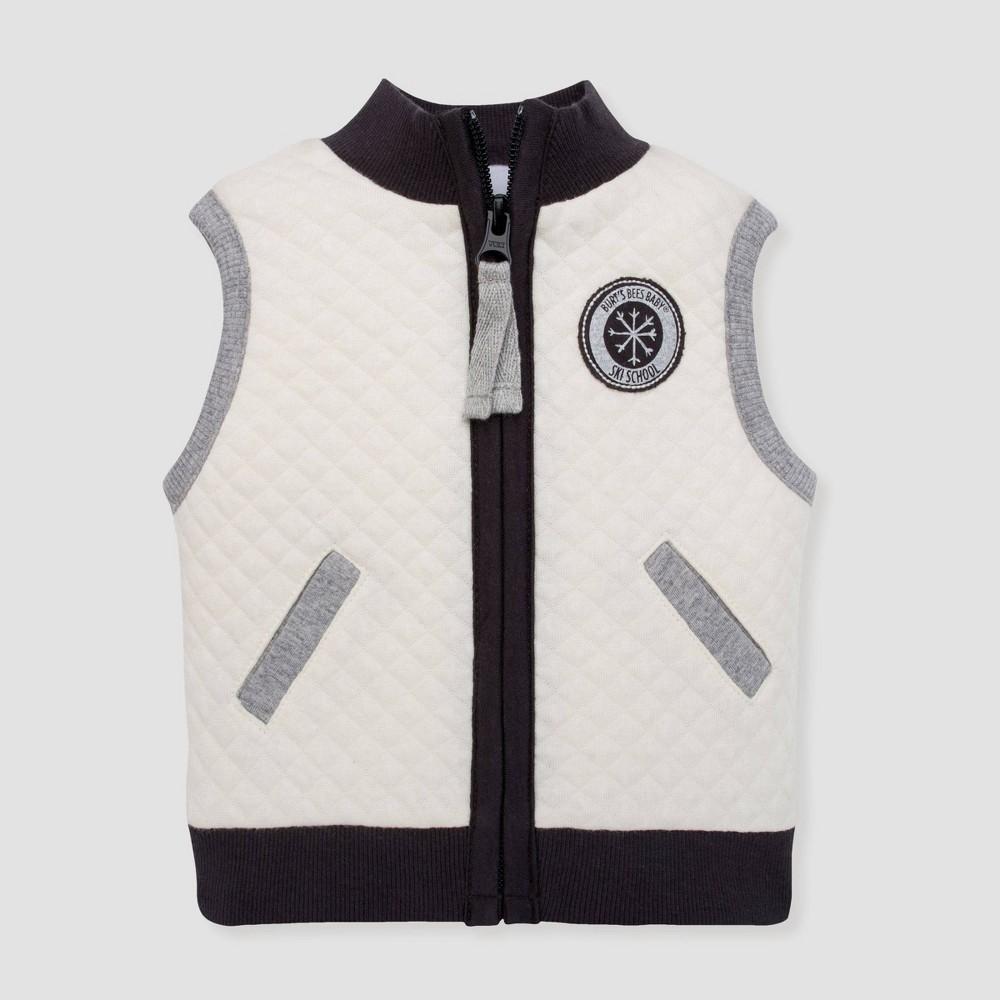 Image of Burt's Bees Baby Baby Boys' Quilted Ski School Organic Cotton Vest - Ivory 0-3M, Boy's, White