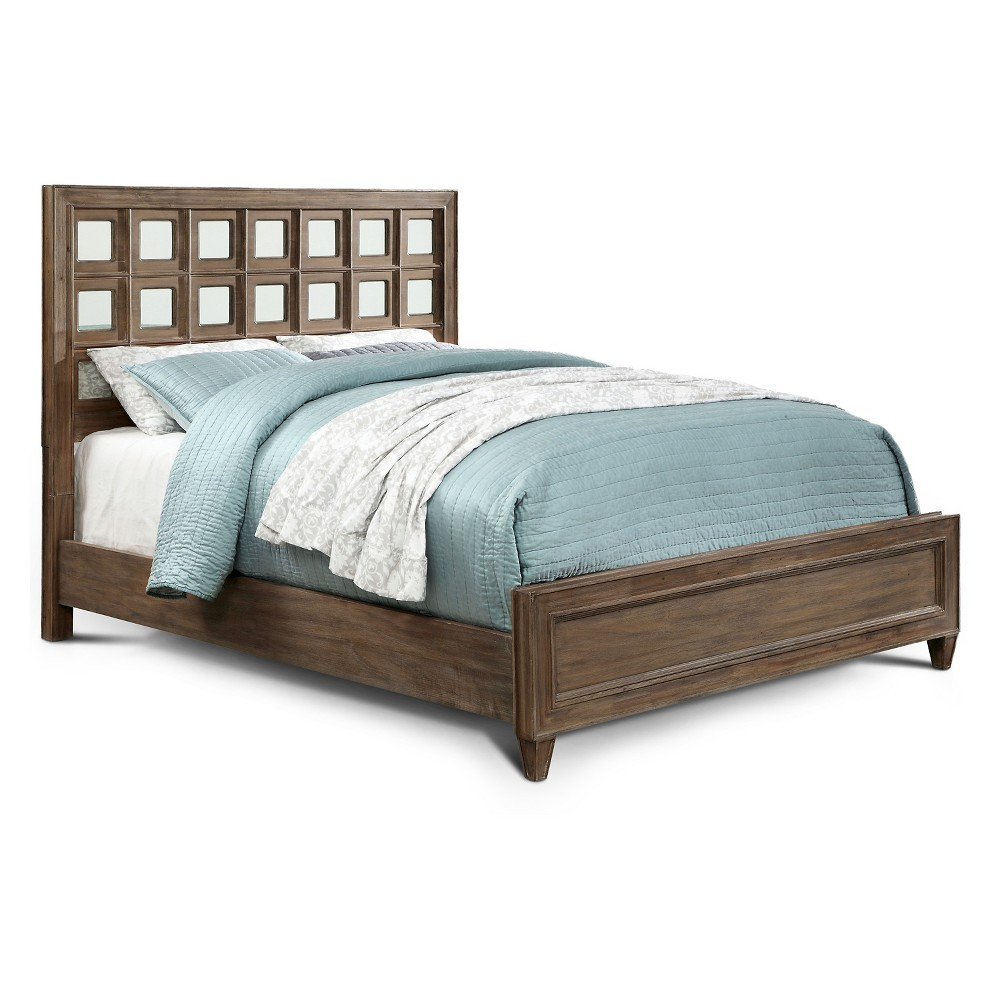 ioHomes Kayleigh Transitional Mirror Accent Bed - Full - Rustic Oak, Brown