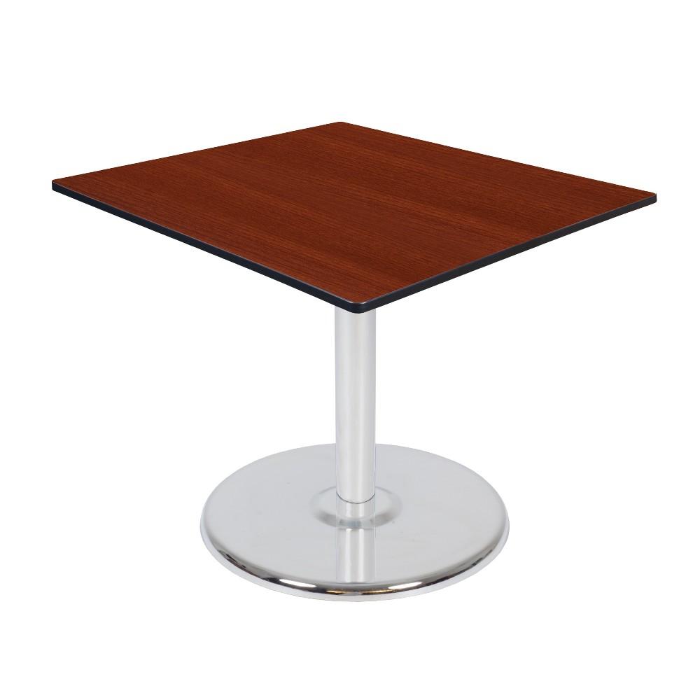 42 Via Square Platter Base Table Cherry/Chrome (Red/Grey) - Regency