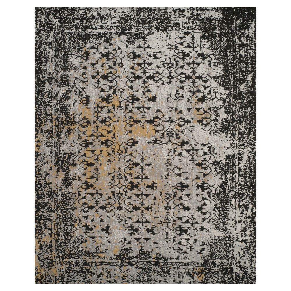 Black/Silver Multi Burst Loomed Area Rug 6'7