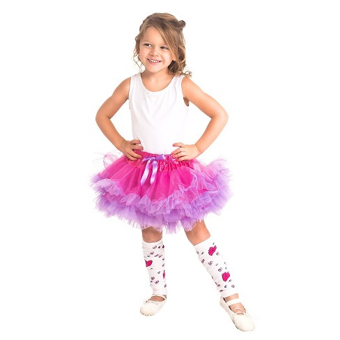 Little Adventures Fluffy Tutu Fuchsia-Light Purple w- Heart Leg Warmers - image 1 of 1