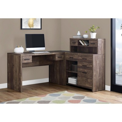 """Monarch Specialties Computer Desk L-Shaped, Left or Right Set- Up, Corner Desk with Hutch 60""""L, Brown Reclaimed Wood"""
