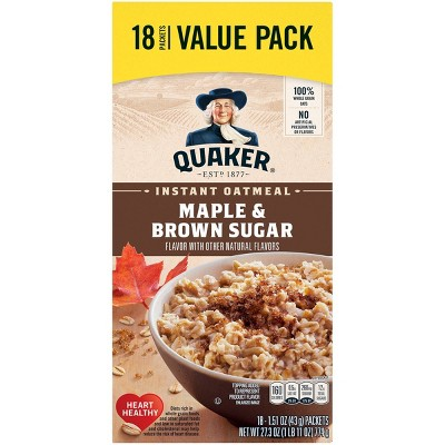 Quaker Instant Oatmeal Maple & Brown Sugar 18 Packets