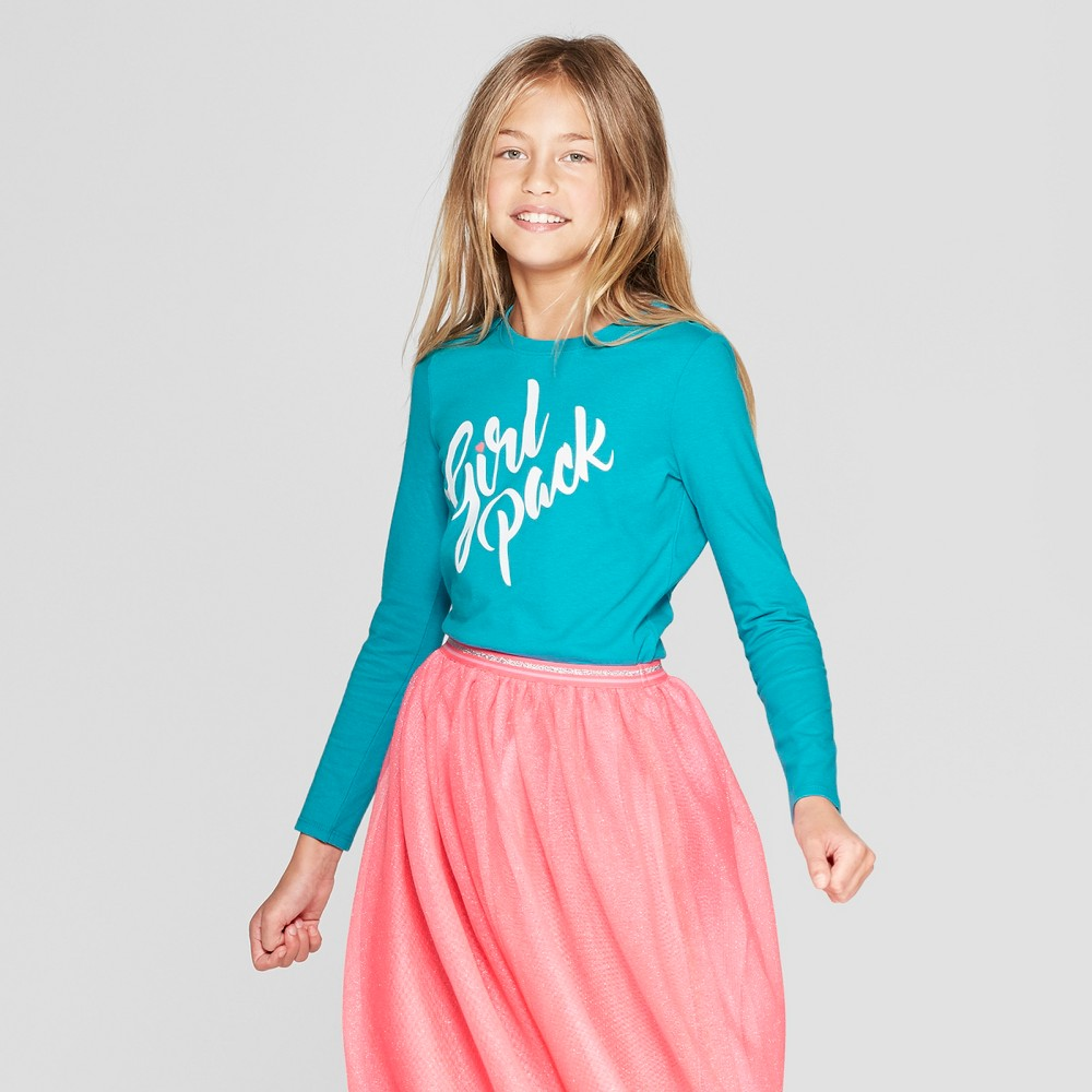 Girls' Long Sleeve Girl Pack Graphic T-Shirt - Cat & Jack Turquoise XL, Blue