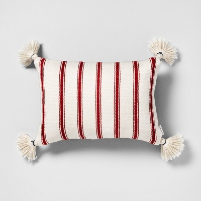 Outdoor Oblong Pillow Red Stripe with Tassels - Hearth & Hand™ with Magnolia