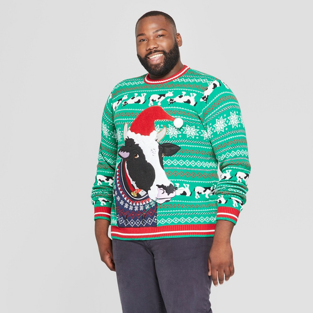 33 Degrees Men's Big & Tall Ugly Holiday Christmas Cow Long Sleeve Pullover Sweater - Green 3XB