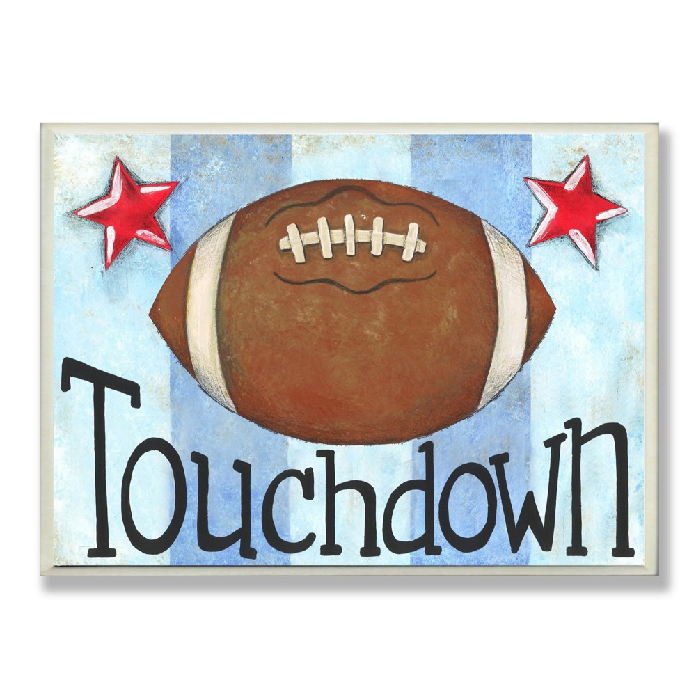Touchdown Football with Blue Stripes Wall Plaque Art (10x15