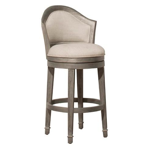 36 Monae Swivel Bar Stool Distressed Dark Gray Woven Hilale Furniture