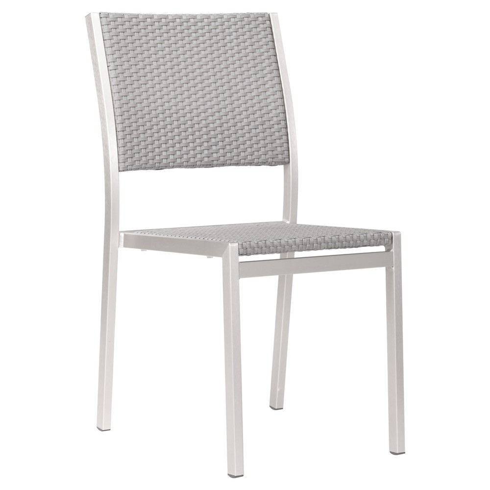 Contemporary 2pk Brushed Aluminum Stackable Dining Chair - ZM Home, Silver