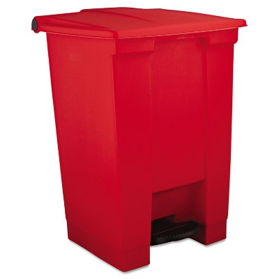 Rubbermaid Commercial Indoor Utility Step-On Waste Container Square Plastic 12gal Red 6144RED