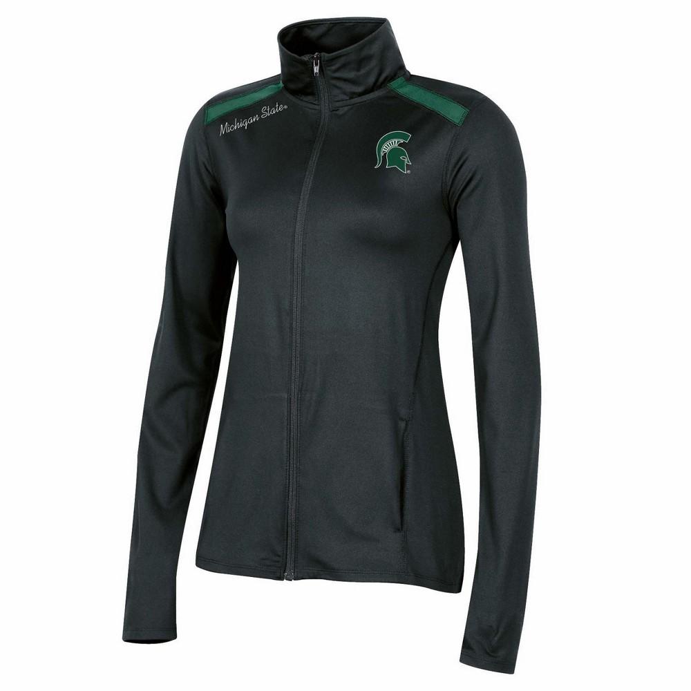 NCAA Women's Black Full Zip Lightweight Overcoat Jacket Michigan State Spartans - S, Multicolored