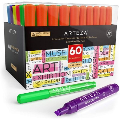 Arteza Highlighters, Broad & Narrow Chisel Tips, 6 Assorted Colors - Set of 60