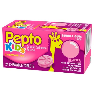 Pepto Children's Antacid Bubble Gum Chewable Tablet 24ct