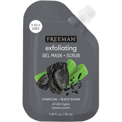 Freeman Charcoal + Black Sugar Gel Mask & Scrub - 1.18 fl oz