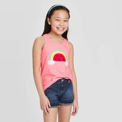 Girls' Flip Sequin Rainbow Tank Top - Cat & Jack™ Neon Pink