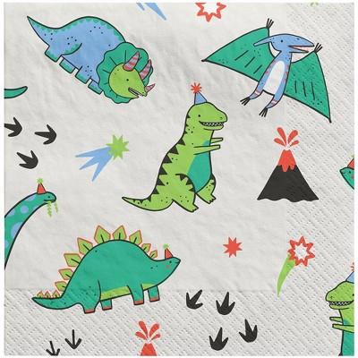 20ct Fossil Friends Dinosaur Disposable Napkins - Spritz™