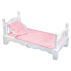 Melissa & Doug White Wooden Doll Bed With Bedding (24 x 12 x 11 inches)