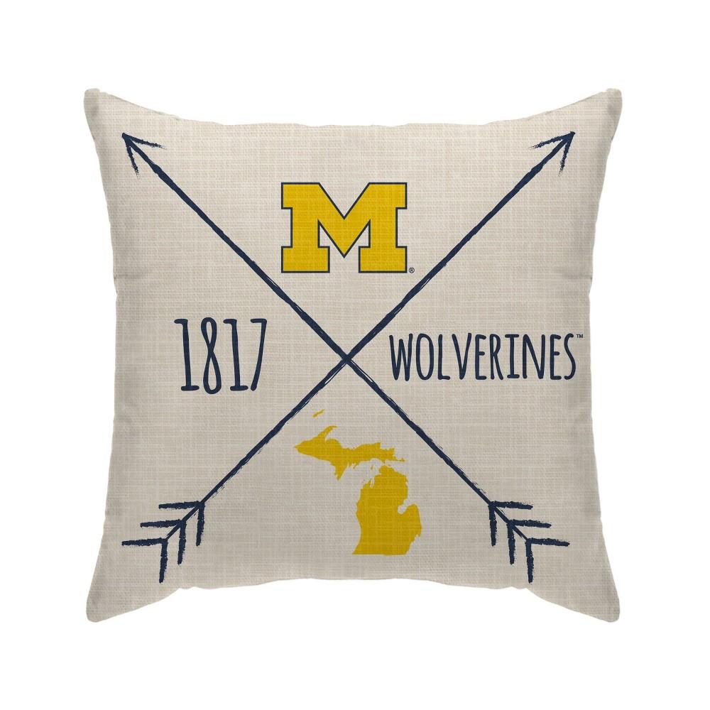 Ncaa Michigan Wolverines Cross Arrow Decorative Throw Pillow
