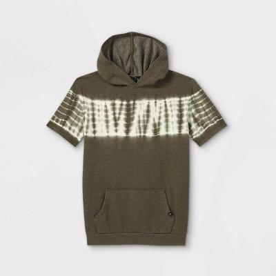 Boys' Tie-Dye Short Sleeve Hoodie Sweatshirt - art class™ Green/White