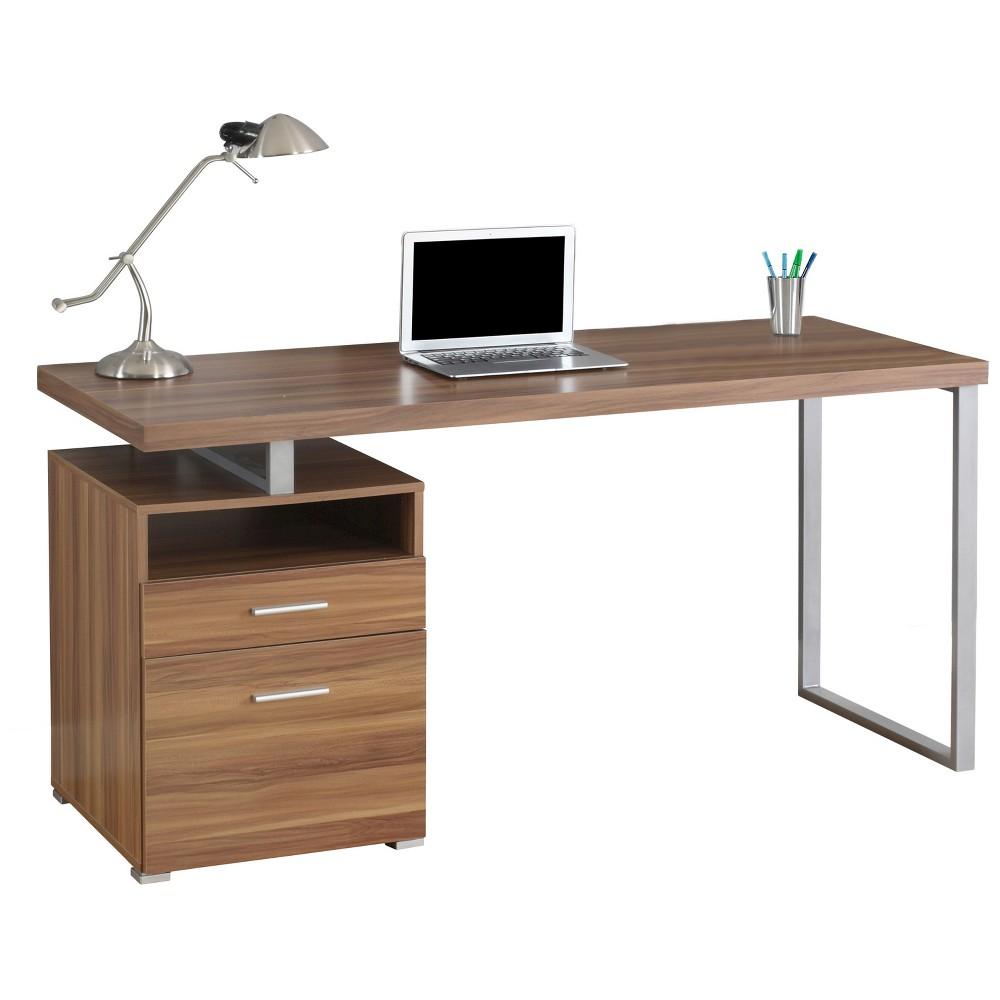 "Image of ""Computer Desk 60""""L- Silver Metal/Walnut - EveryRoom, Brown"""